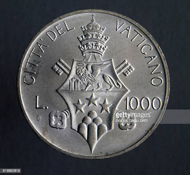 1000 lire coin reverse coat of arms Vatican City 20th century