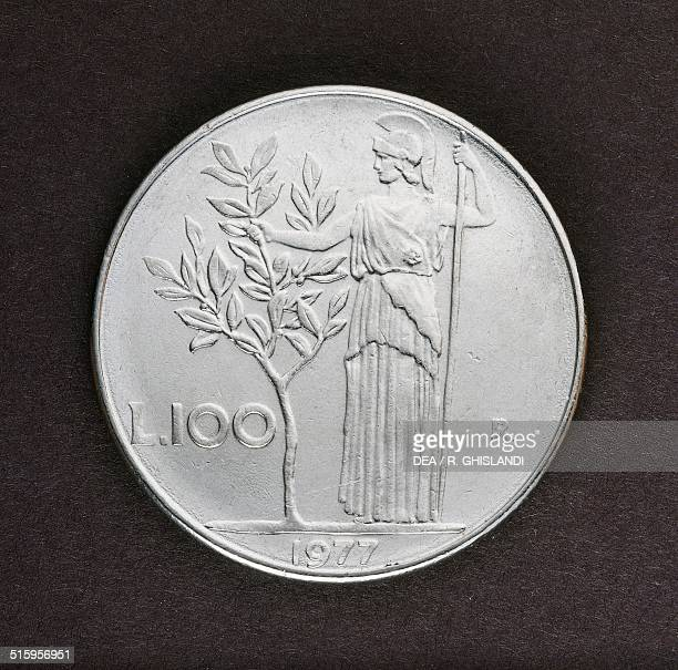 100 lire coin reverse Minerva and olive tree Italy 20th century