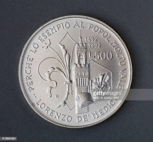 500 lire silver coin 500th Anniversary of the Death of Lorenzo de' Medici reverse lily and Palazzo Vecchio tower in Florence Italy 20th century...