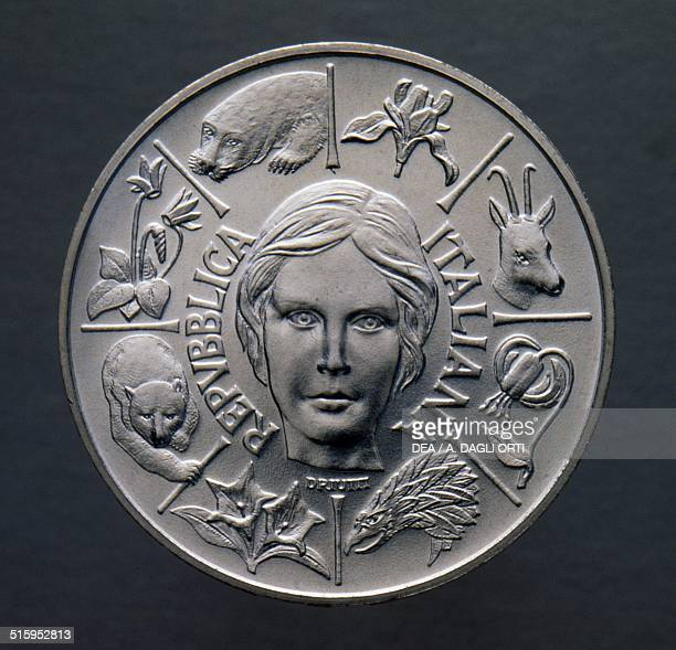 500 lire silver coin plants and wildlife protection obverse female face and animals Italy 20th century