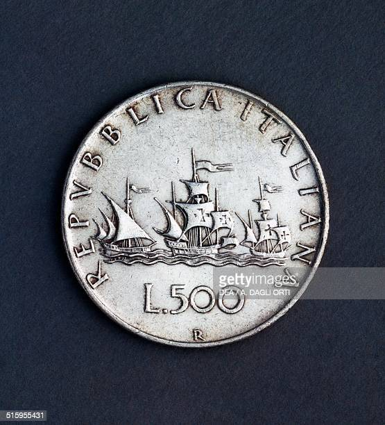 500 lire silver coin reverse the three caravels of Christopher Columbus Italy 20th century