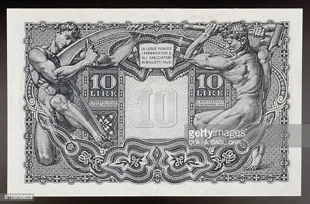 10 lire State note issued during the Lieutenancy reverse two men wielding a sickle and a hammer 91x58 cm Italy 20th century