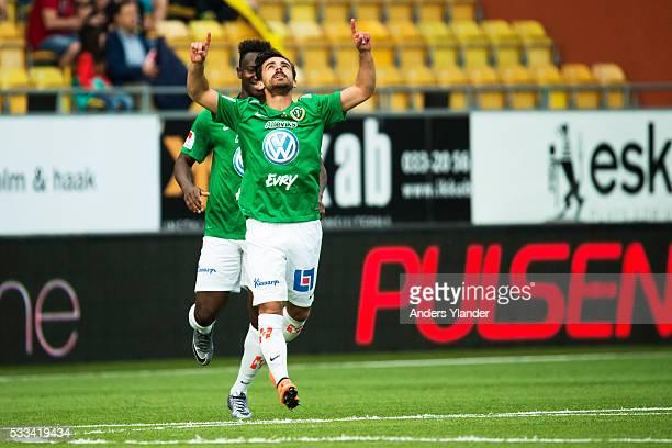 Liridon Silka of Jonkopings Sodra celebrate after scoring 32 during the Allsvenskan match between IF Elfsborg and Jonkoping Sodra at Boras Arena on...