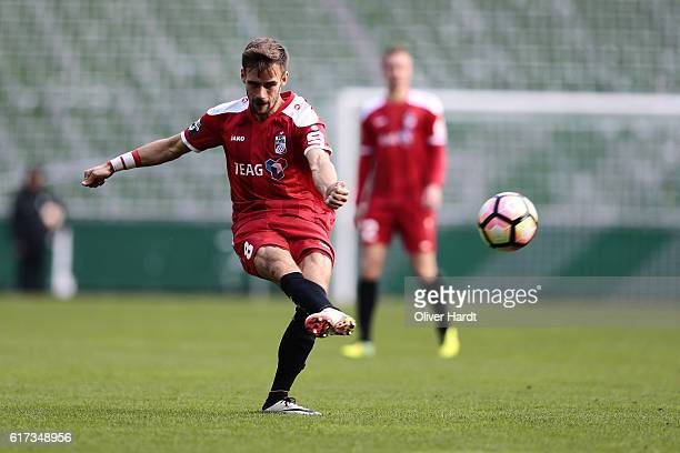 Liridon Vocaj of Erfurt in action during the 3 liga match between Werder Bremen II and RW Erfurt at Weserstadion on October 23 2016 in Bremen Germany