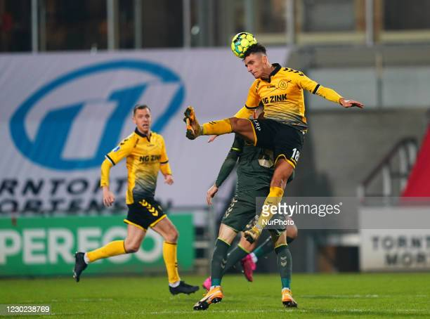 Lirim Qamili of AC Horsens and Anthony Jung of Brøndby during the Superliga match between AC Horsens and Brøndby at CASA Arena, Horsens, Denmark on...