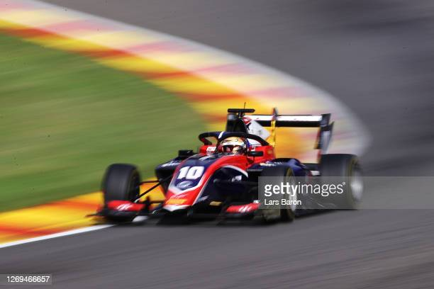 Lirim Zendeli of Germany and Trident drives during the first race of the Formula 3 Championship at Circuit de Spa-Francorchamps on August 29, 2020 in...