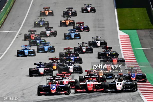 Lirim Zendeli of Germany and Trident drives, Oscar Piastri of Australia and Prema Racing drives and Sebastian Fernandez of Spain and ART Grand Prix...