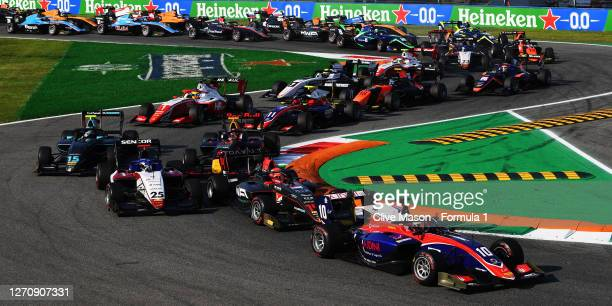 Lirim Zendeli of Germany and Trident leads Enzo Fittipaldi of Brazil and HWA Racelab and the rest of the field at the start during race two of the...