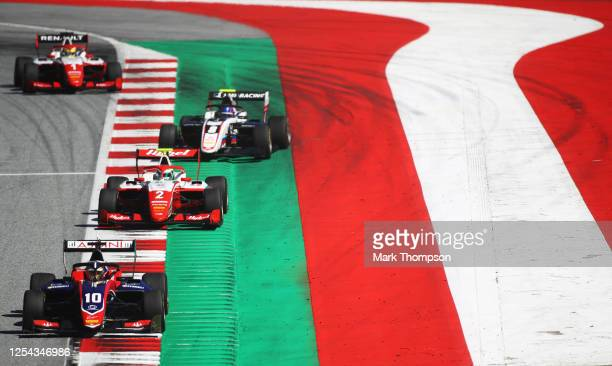 Lirim Zendeli of Germany and Trident leads Frederik Vesti of Denmark and Prema Racing , Aleksandr Smolyar of Russia and ART Grand Prix and Oscar...