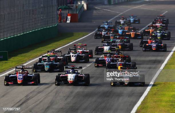 Lirim Zendeli of Germany and Trident , Michael Belov of Russia and Charouz Racing System and Enzo Fittipaldi of Brazil and HWA Racelab battle for...