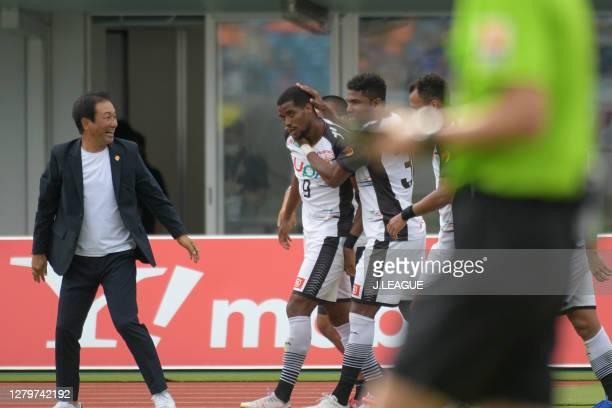Lirio Freitas De Castilho of Renofa Yamaguchi celebrates scoring his side's third goal during the J.League Meiji Yasuda J2 match between V-Varen...