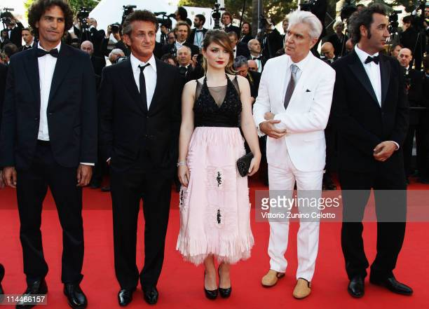 Liron Levo Sean Penn Eve Hewson David Byrne and Paolo Sorrentino attend attends the This Must Be The Place premiere during the 64th Annual Cannes...
