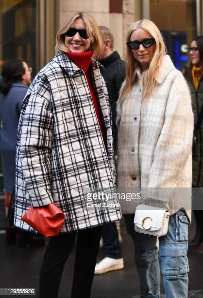 Lisa Aiken and Charlotte Groeneveld are seen outside the Michael Kors show during New York Fashion Week: Fall/Winter 2019 on February 13, 2019 in New...