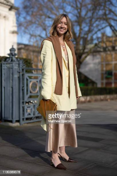 Lisa Aiken is seen on the street during London Fashion Week February 2019 wearing Victoria Beckham on February 17, 2019 in London, England.