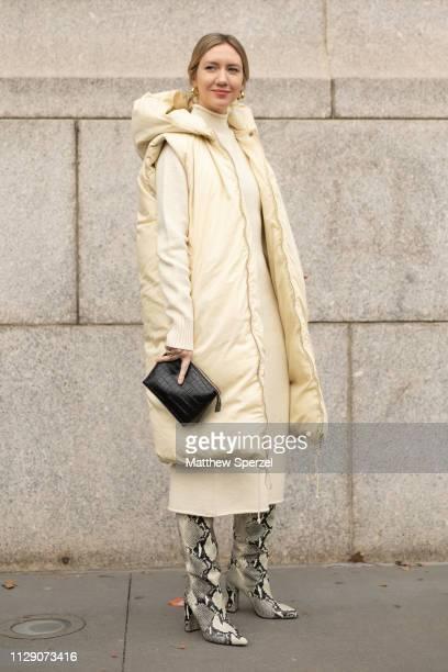 Lisa Aiken is seen on the street during New York Fashion Week AW19 wearing Carolina Herrera on February 11, 2019 in New York City.