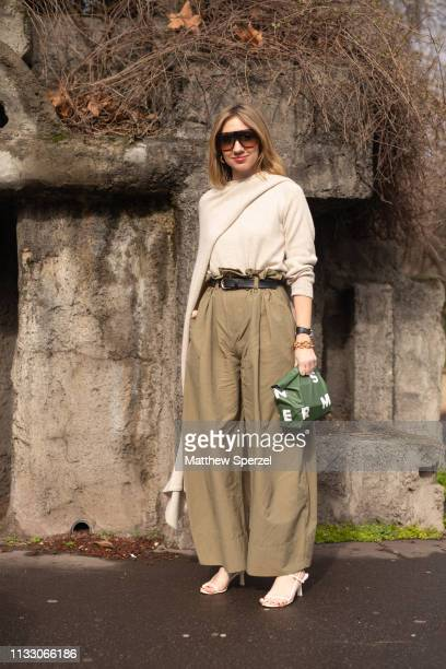 Lisa Aiken is seen on the street during Paris Fashion Week AW19 wearing Loewe on March 01 2019 in Paris France