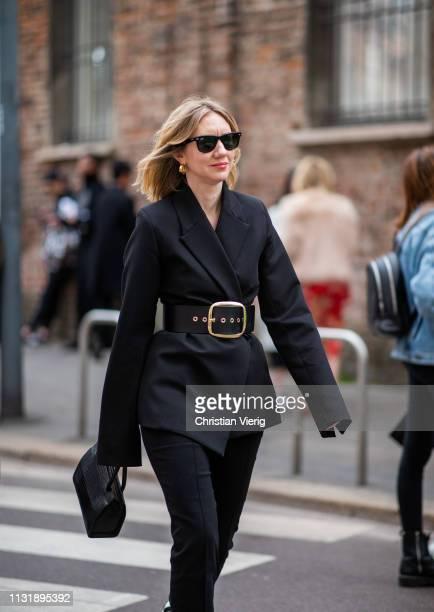 Lisa Aiken is seen outside Ferragamo on Day 4 Milan Fashion Week Autumn/Winter 2019/20 on February 23 2019 in Milan Italy