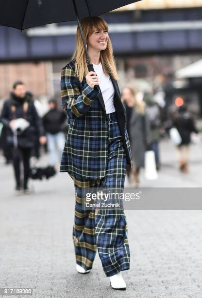 Lisa Aiken is seen outside the Tibi show during New York Fashion Week Women's A/W 2018 on February 11 2018 in New York City