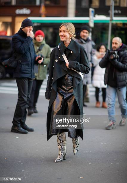 Lisa Aiken is seen wearing black jacket outside Schiaparelli during Paris Fashion Week Haute Couture Spring Summer 2019 on January 21 2019 in Paris...