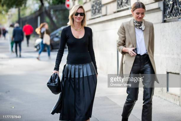 Lisa Aiken is seen wearing black two tone dress outside Alessandra Rich during Paris Fashion Week Womenswear Spring Summer 2020 on September 27 2019...