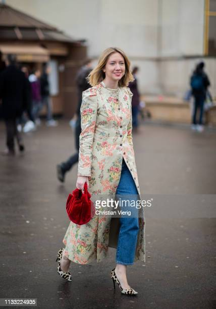 Lisa Aiken is seen wearing coat with floral print outside Haider Ackermann during Paris Fashion Week Womenswear Fall/Winter 2019/2020 on March 02...