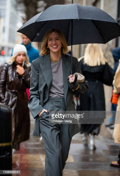 Lisa Aiken is seen wearing grey suit outside Marques Almeida during London Fashion Week February 2020 on February 15 2020 in London England