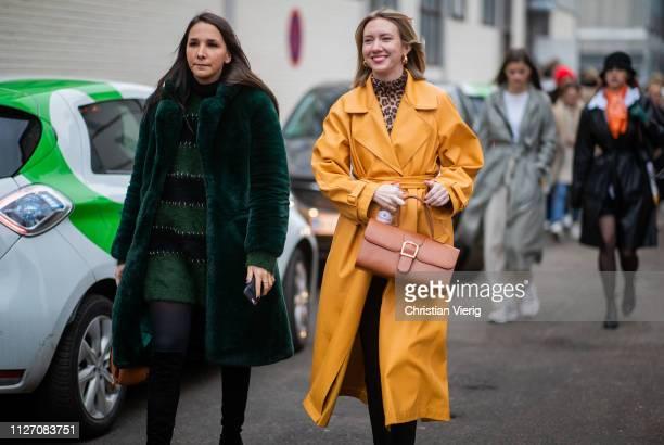 Lisa Aiken is seen wearing yellow coat two tone boots brown bag outside Baum und Pferdgarten during the Copenhagen Fashion Week Autumn/Winter 2019...