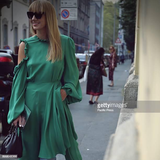 Lisa Aiken on the street during the Milan Fashion Week