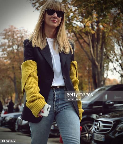 Lisa Aiken on the street during the Paris Fashion Week