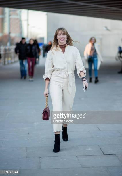 Lisa Aiken seen outside Burberry during London Fashion Week February 2018 on February 17 2018 in London England