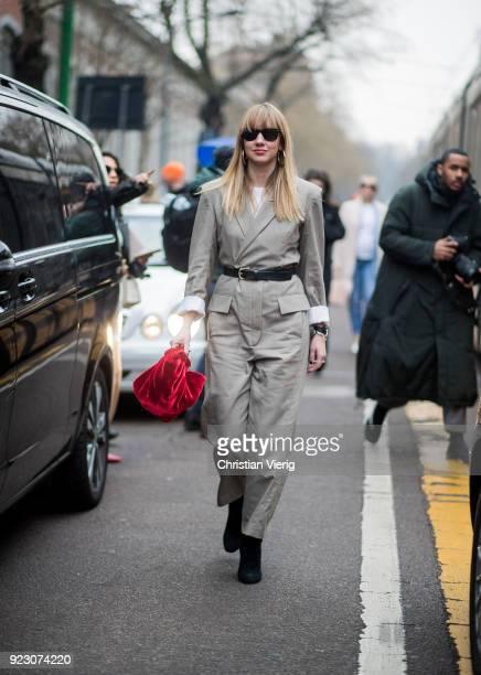 Lisa Aiken seen outside Fendi during Milan Fashion Week Fall/Winter 2018/19 on February 22 2018 in Milan Italy