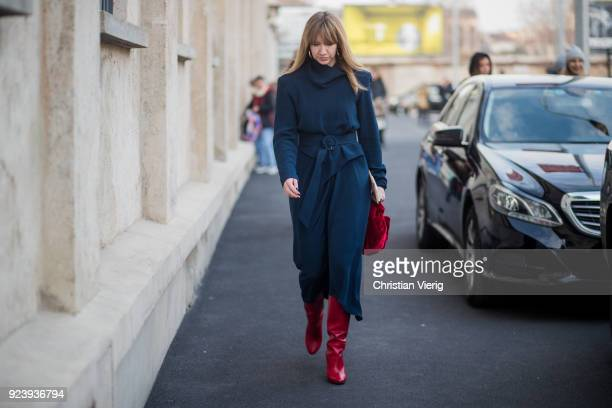 Lisa Aiken seen outside Missoni during Milan Fashion Week Fall/Winter 2018/19 on February 24 2018 in Milan Italy