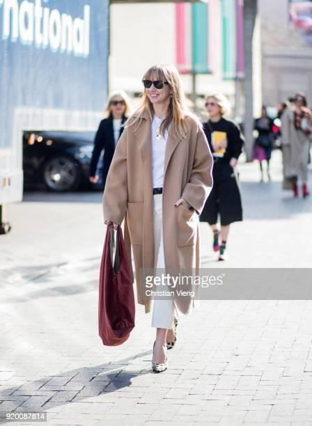 Lisa Aiken seen outside Roland Mouret during London Fashion Week February 2018 on February 18 2018 in London England