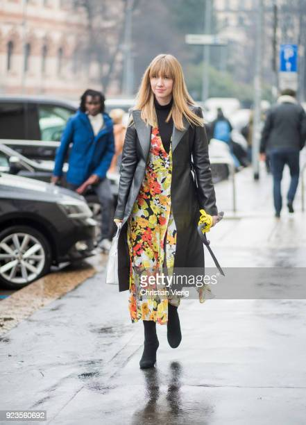 Lisa Aiken seen outside Tods during Milan Fashion Week Fall/Winter 2018/19 on February 23 2018 in Milan Italy