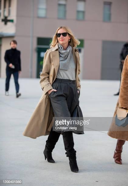 Lisa Aiken seen wearing grey turtleneck, beige trench coat, pants, black boots outside Jacquemus during Paris Fashion Week - Menswear F/W 2020-2021...