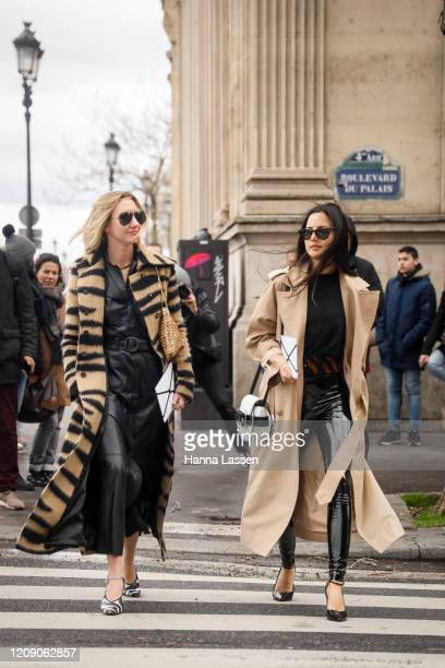 Lisa Aiken wearing animal print short fur jacket, leather skirt, zebra printed heels and sunglasses outside the Paco Rabanne show during the Paris...