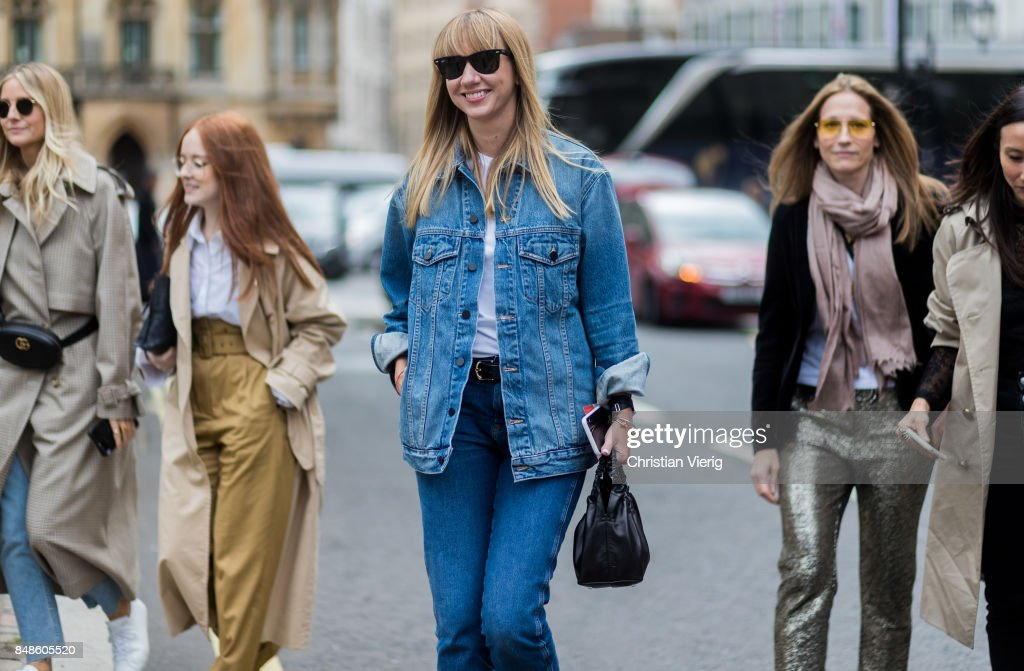Lisa Aiken wearing denim jacket outside Preen during London Fashion Week September 2017 on September 17, 2017 in London, England.