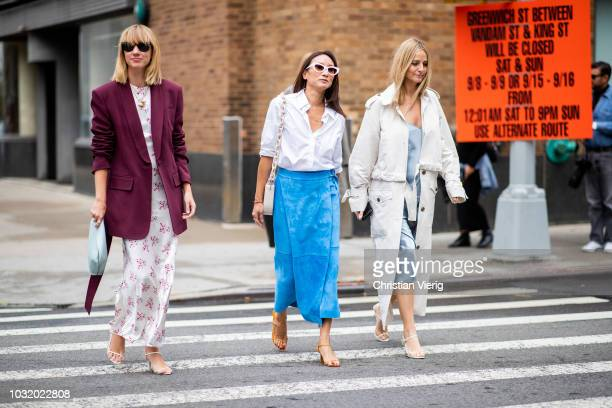 Lisa Aiken wearing dress brodeaux blazer is seen outside Gabriela Hearst during New York Fashion Week Spring/Summer 2019 on September 11 2018 in New...