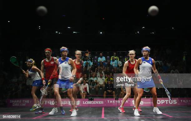 Lisa Aitken and team mate Alison Thomson of Scotland compete in the women's double match against SarahJane Perry and Laura Massaro of England during...