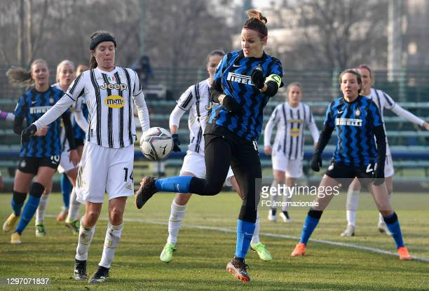 Lisa Alborghetti of FC Internazionale in action during the Women Serie A match between FC Internazionale and Juventus at Suning Youth Development...