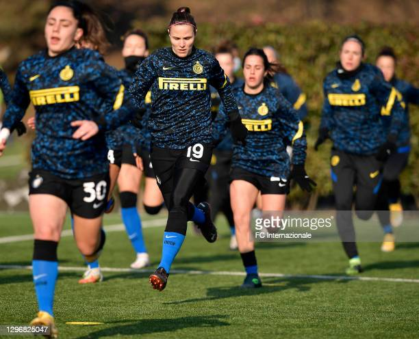 Lisa Alborghetti of FC Internazionale warms up before the Women Serie A match between FC Internazionale and Juventus at Suning Youth Development...