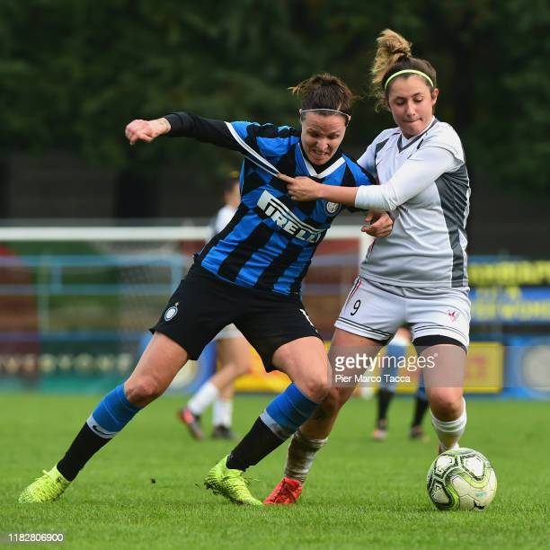 Lisa Alborghetti of FC Internazionale Women competes for the ball with Guya Vavassori during the Women Serie A match between FC Internazionale and...