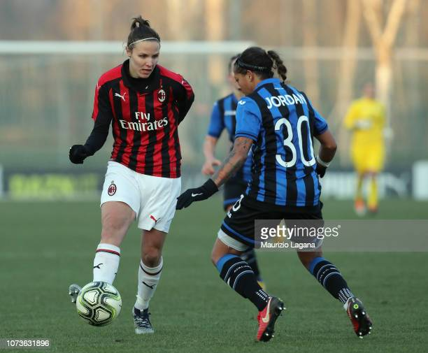 Lisa Alborghetti of Milan competes for the ball with Adrienne Jordan of Mozzanica during the Women Serie a Match between AC Milan and Mozzanica Women...