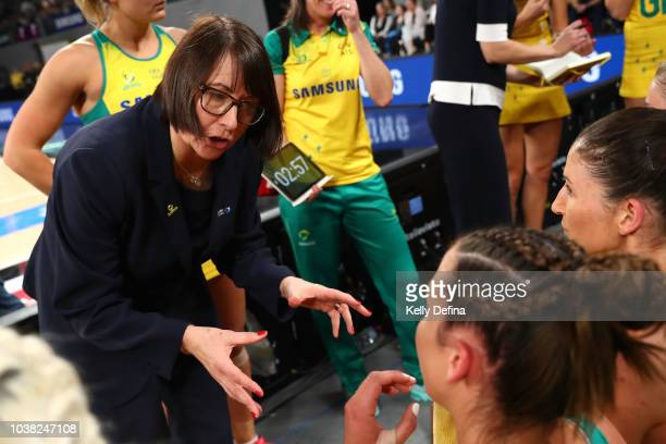 Lisa Alexander senior coach of the Diamonds coaches during the Quad Series International Test match between the Australian Diamonds and the New...