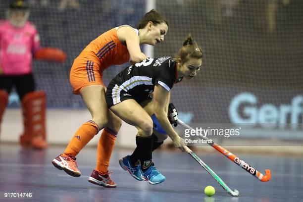 Lisa Altenburg of Germany and Kiki van Wijk of Netherlands during the Women Gold Medal Indoor Hockey World Cup Berlin Final Day match between Germany...