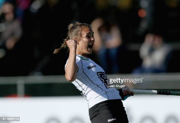 Lisa Altenburg of Germany celebrates their equalising goal during day 2 of the FIH Hockey World League Semi Finals Pool A match between Germany and...