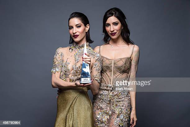 Lisa and Jessica Origliasso from the Veronicas pose for a portrait with an ARIA for Best Video during the 29th Annual ARIA Awards 2015 at The Star on...