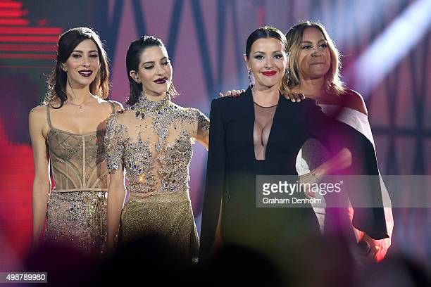 Lisa and Jessica Origliasso from The Veronicas Tina Arena and Jessica Mauboy during the 29th Annual ARIA Awards 2015 at The Star on November 26 2015...