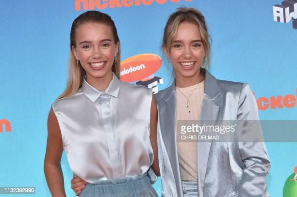 Lisa and Lena Mantler arrive for the 32nd Annual Nickelodeon Kids' Choice Awards at the USC Galen Center on March 23 2019 in Los Angeles