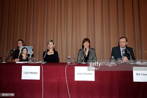 Lisa and Louise Hawker, the sisters of Lindsay Ann Hawker, and her parents Bill and Julia attend a press conference at Japan National Press Club on...